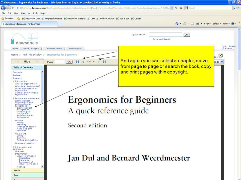 And again you can select a chapter, move from page to page or search the book, copy and print pages within copyright.