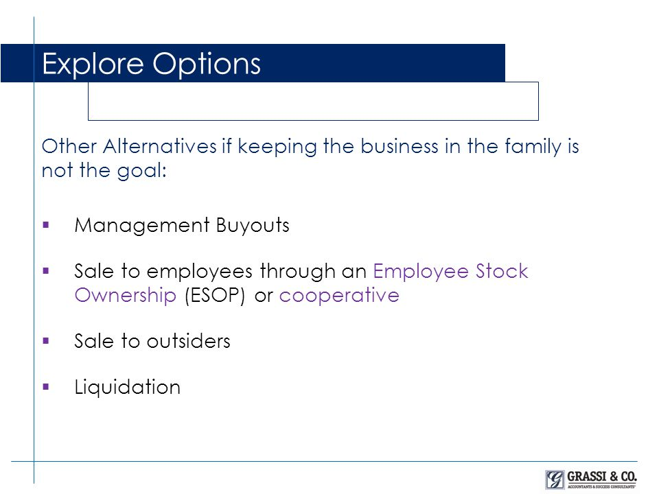 Other Alternatives if keeping the business in the family is not the goal: Explore Options Management Buyouts Sale to employees through an Employee Stock Ownership (ESOP) or cooperative Sale to outsiders Liquidation