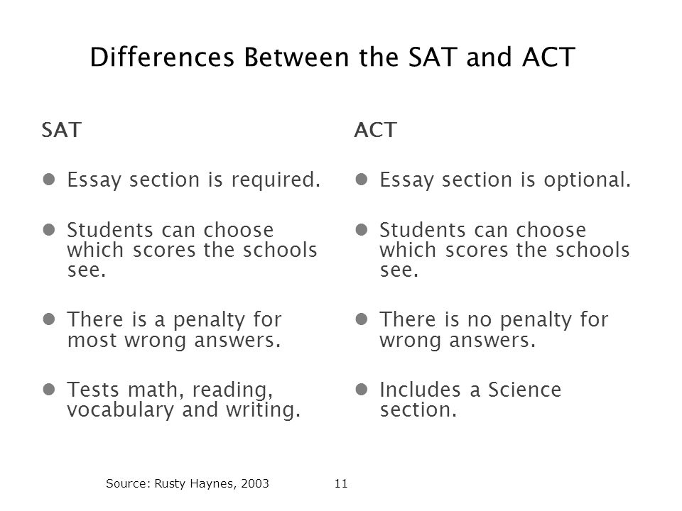 Differences Between the SAT and ACT SAT Essay section is required.