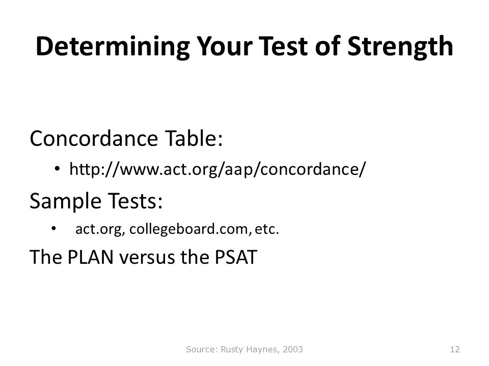 Determining Your Test of Strength Concordance Table: http://www.act.org/aap/concordance/ Sample Tests: act.org, collegeboard.com, etc.