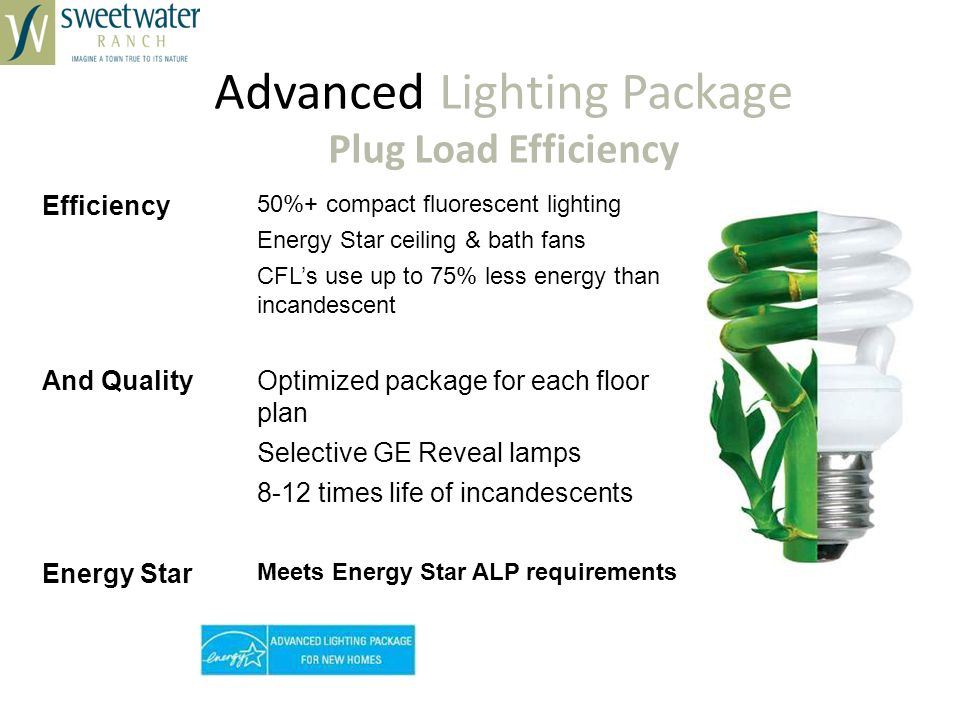 Advanced Lighting Package Plug Load Efficiency Efficiency 50%+ compact fluorescent lighting Energy Star ceiling & bath fans CFLs use up to 75% less energy than incandescent And QualityOptimized package for each floor plan Selective GE Reveal lamps 8-12 times life of incandescents Energy Star Meets Energy Star ALP requirements