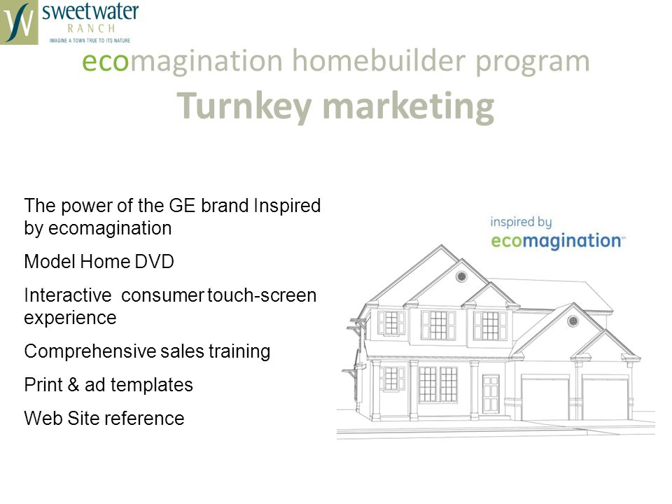 ecomagination homebuilder program Turnkey marketing The power of the GE brand Inspired by ecomagination Model Home DVD Interactive consumer touch-screen experience Comprehensive sales training Print & ad templates Web Site reference