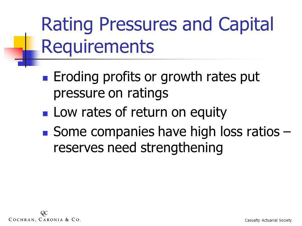 Rating Pressures and Capital Requirements Eroding profits or growth rates put pressure on ratings Low rates of return on equity Some companies have high loss ratios – reserves need strengthening Casualty Actuarial Society