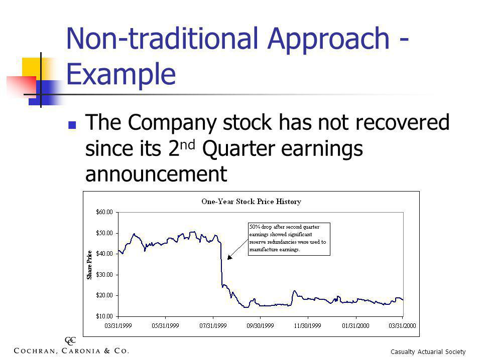 Non-traditional Approach - Example The Company stock has not recovered since its 2 nd Quarter earnings announcement Casualty Actuarial Society