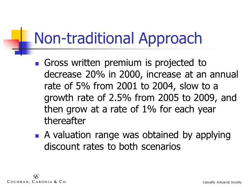 Non-traditional Approach Gross written premium is projected to decrease 20% in 2000, increase at an annual rate of 5% from 2001 to 2004, slow to a growth rate of 2.5% from 2005 to 2009, and then grow at a rate of 1% for each year thereafter A valuation range was obtained by applying discount rates to both scenarios Casualty Actuarial Society