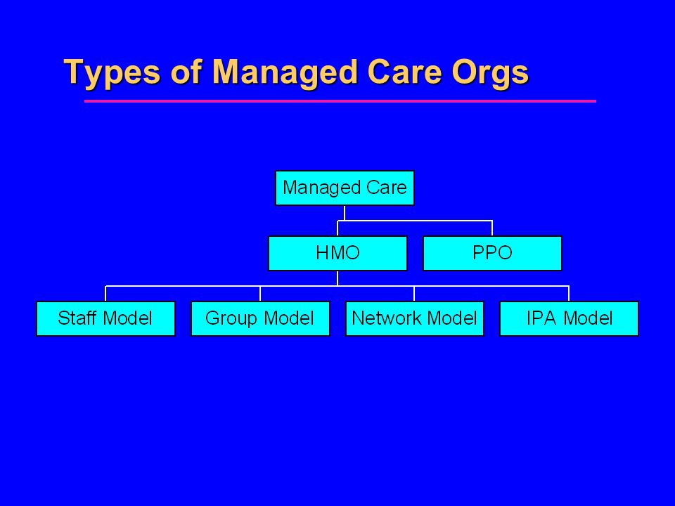 Types of Managed Care Orgs