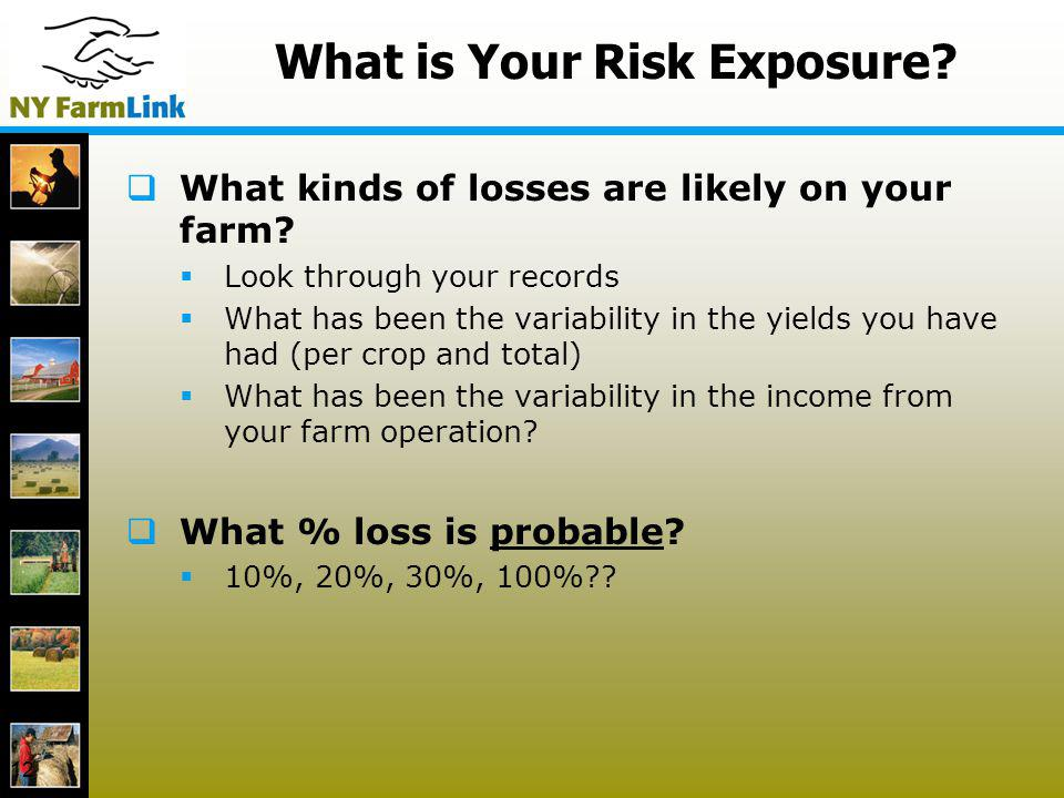 12 What is Your Risk Exposure? What kinds of losses are likely on your farm? Look through your records What has been the variability in the yields you
