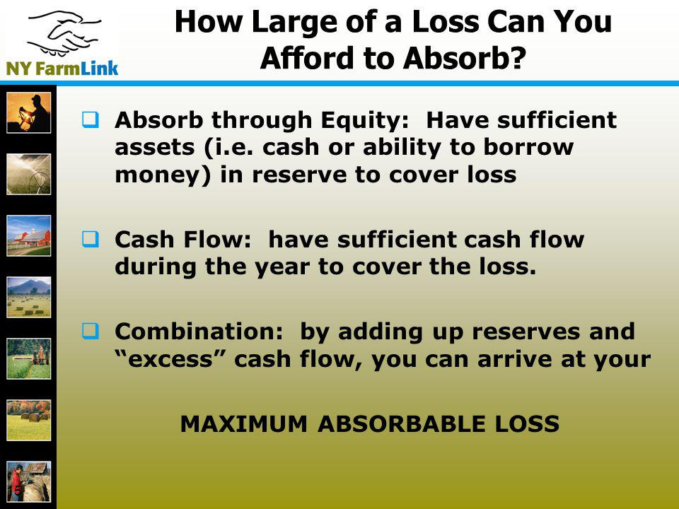 15 How Large of a Loss Can You Afford to Absorb? Absorb through Equity: Have sufficient assets (i.e. cash or ability to borrow money) in reserve to co