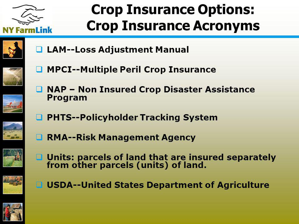 18 Crop Insurance Options: Crop Insurance Acronyms LAM--Loss Adjustment Manual MPCI--Multiple Peril Crop Insurance NAP – Non Insured Crop Disaster Ass