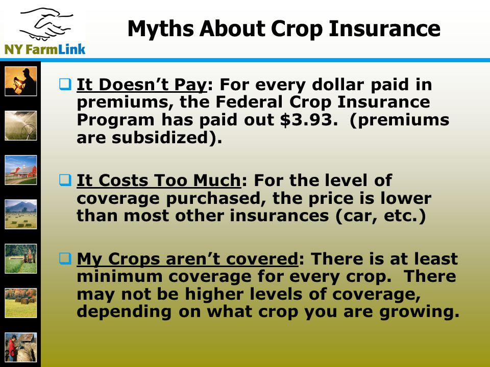 20 Myths About Crop Insurance It Doesnt Pay: For every dollar paid in premiums, the Federal Crop Insurance Program has paid out $3.93. (premiums are s