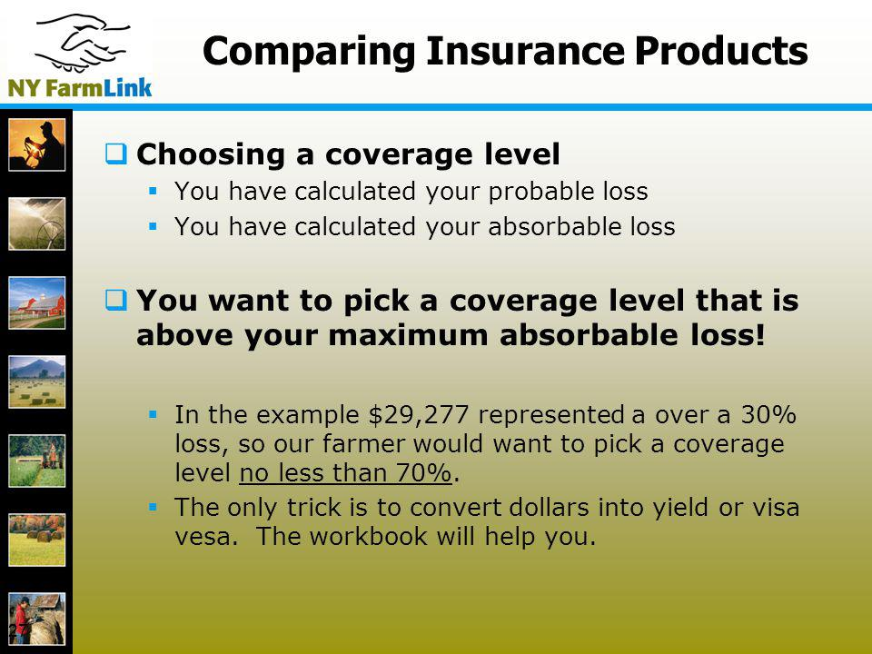 27 Comparing Insurance Products Choosing a coverage level You have calculated your probable loss You have calculated your absorbable loss You want to
