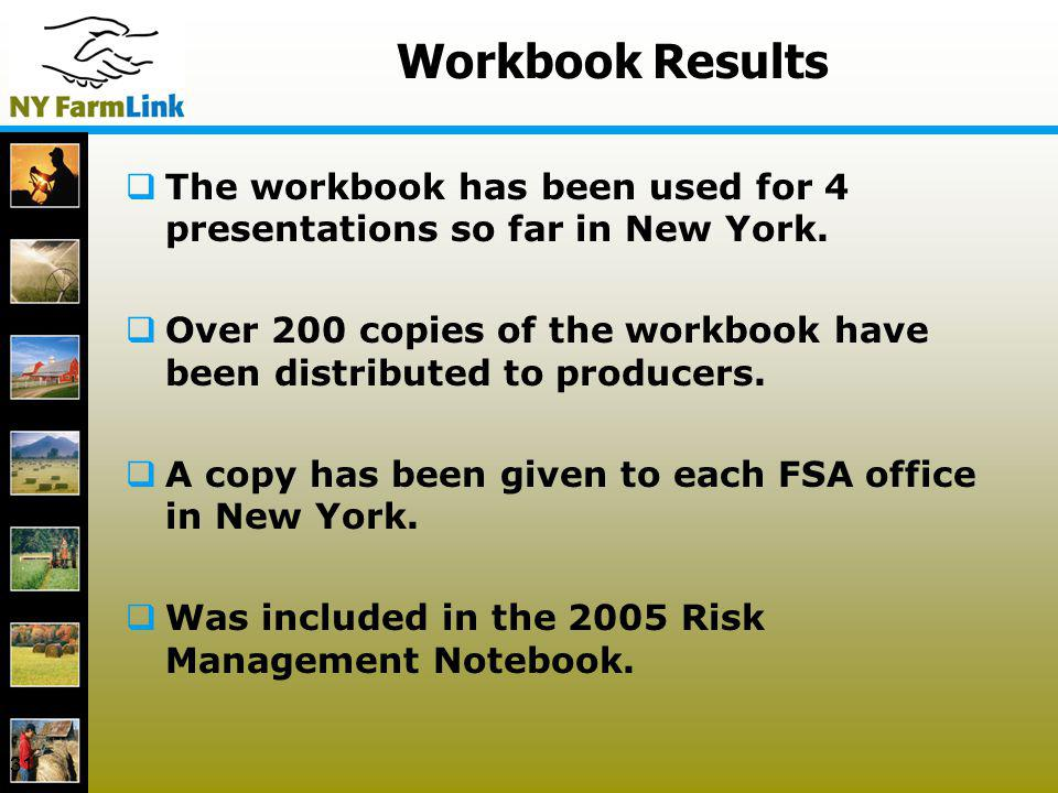 31 Workbook Results The workbook has been used for 4 presentations so far in New York. Over 200 copies of the workbook have been distributed to produc