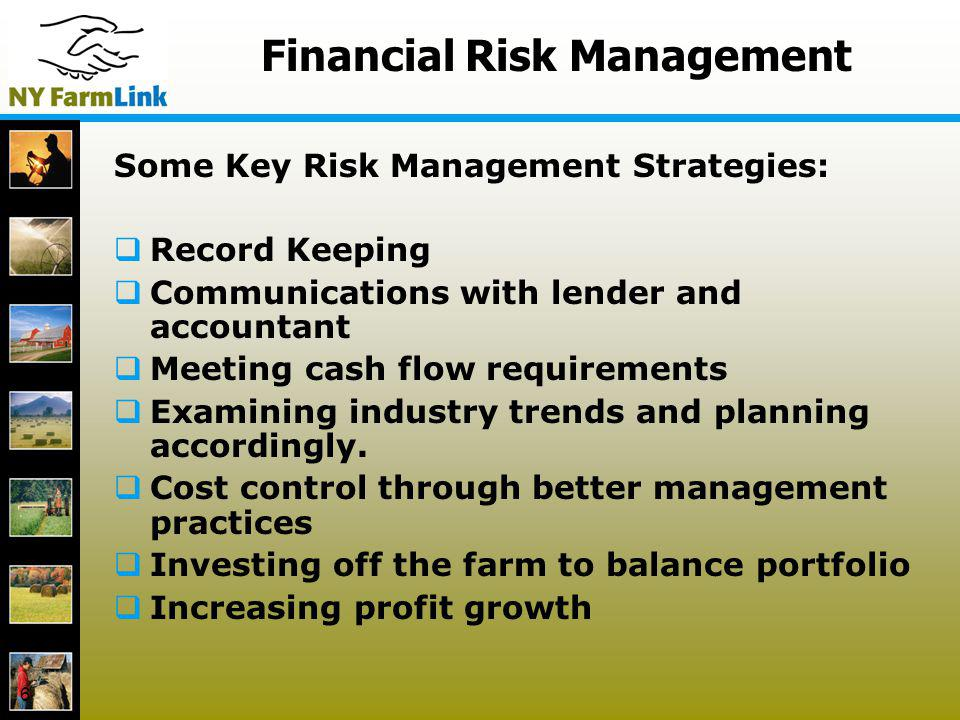 6 Financial Risk Management Some Key Risk Management Strategies: Record Keeping Communications with lender and accountant Meeting cash flow requiremen