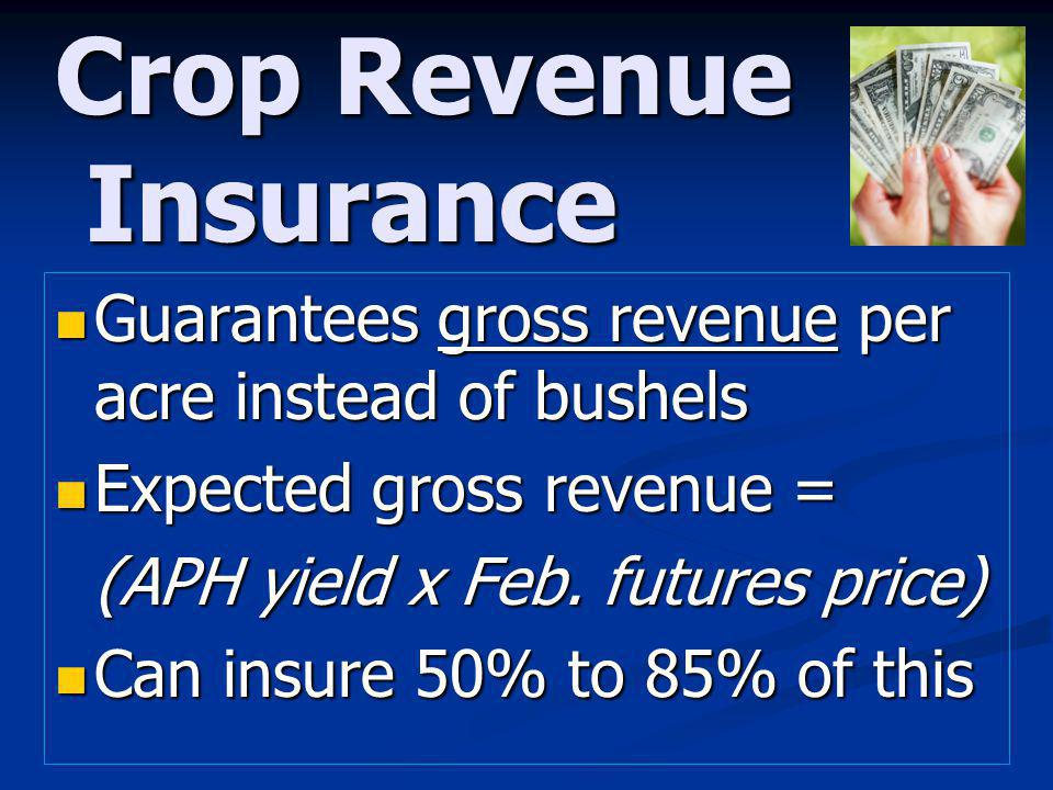Crop Revenue Insurance Guarantees gross revenue per acre instead of bushels Guarantees gross revenue per acre instead of bushels Expected gross revenue = Expected gross revenue = (APH yield x Feb.