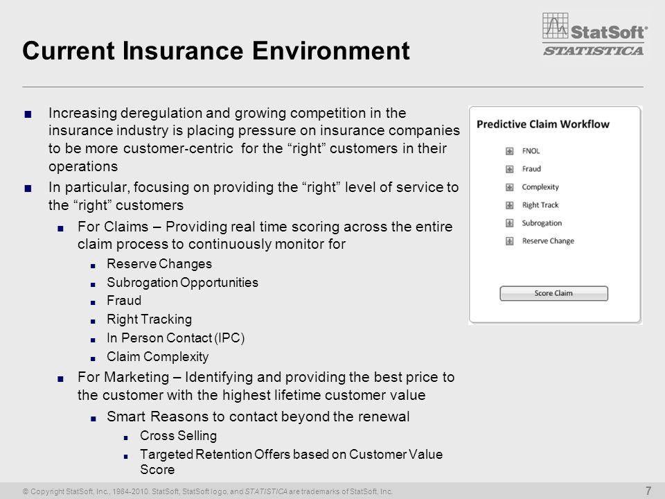 © Copyright StatSoft, Inc., 1984-2010. StatSoft, StatSoft logo, and STATISTICA are trademarks of StatSoft, Inc. 7 Current Insurance Environment Increa