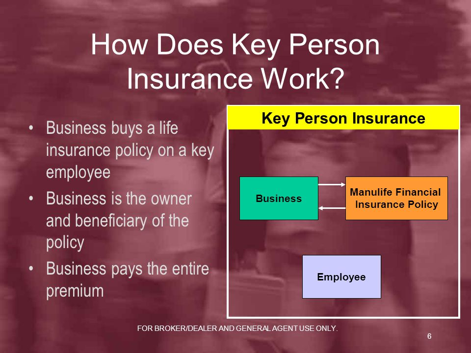 FOR BROKER/DEALER AND GENERAL AGENT USE ONLY.6 How Does Key Person Insurance Work.