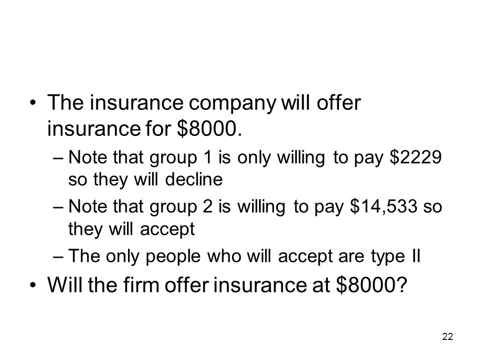 22 The insurance company will offer insurance for $8000. –Note that group 1 is only willing to pay $2229 so they will decline –Note that group 2 is wi