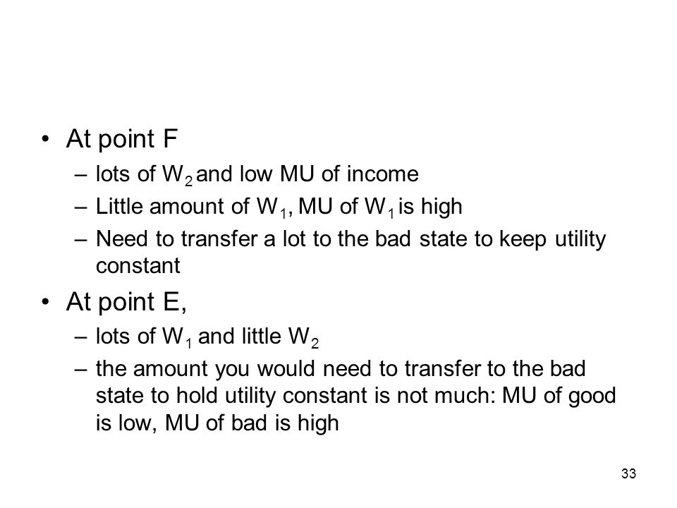 33 At point F –lots of W 2 and low MU of income –Little amount of W 1, MU of W 1 is high –Need to transfer a lot to the bad state to keep utility cons
