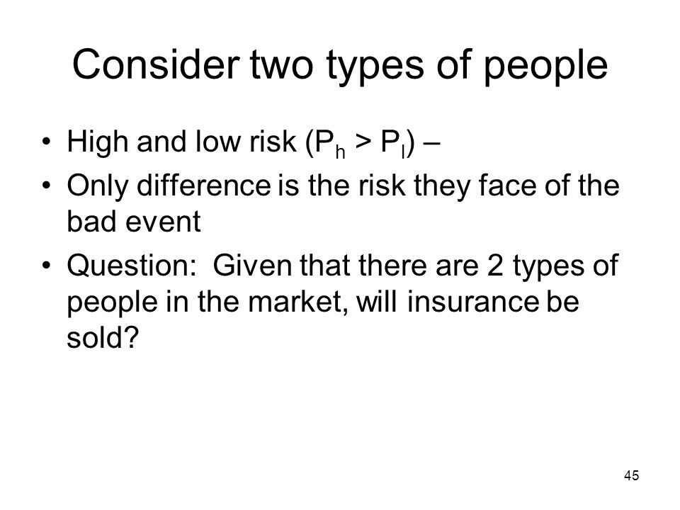 45 Consider two types of people High and low risk (P h > P l ) – Only difference is the risk they face of the bad event Question: Given that there are