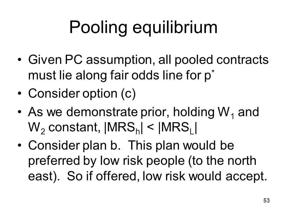 53 Pooling equilibrium Given PC assumption, all pooled contracts must lie along fair odds line for p * Consider option (c) As we demonstrate prior, ho