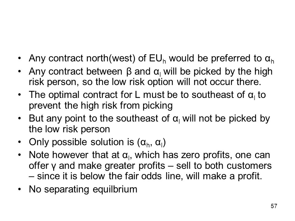 57 Any contract north(west) of EU h would be preferred to α h Any contract between β and α l will be picked by the high risk person, so the low risk o