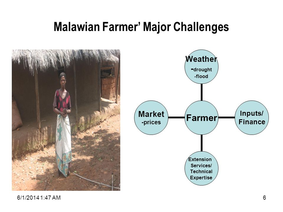 6/1/2014 1:49 AM6 Malawian Farmer Major Challenges Farmer Weather -drought -flood Inputs/ Finance Extension Services/ Technical Expertise Market -prices