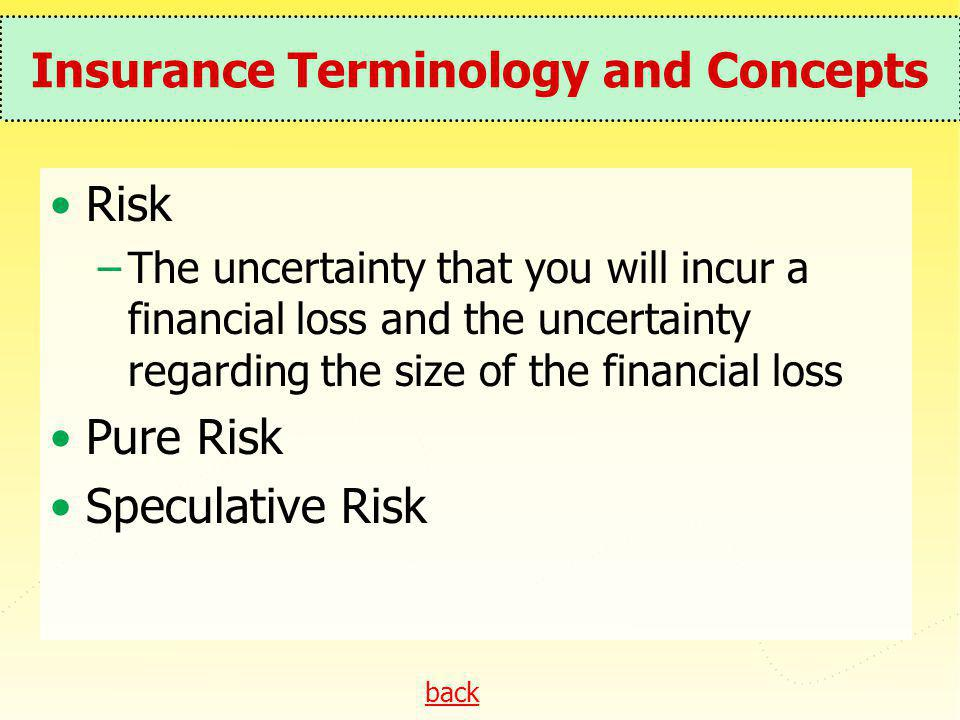 back Insurance Terminology and Concepts Risk –The uncertainty that you will incur a financial loss and the uncertainty regarding the size of the finan