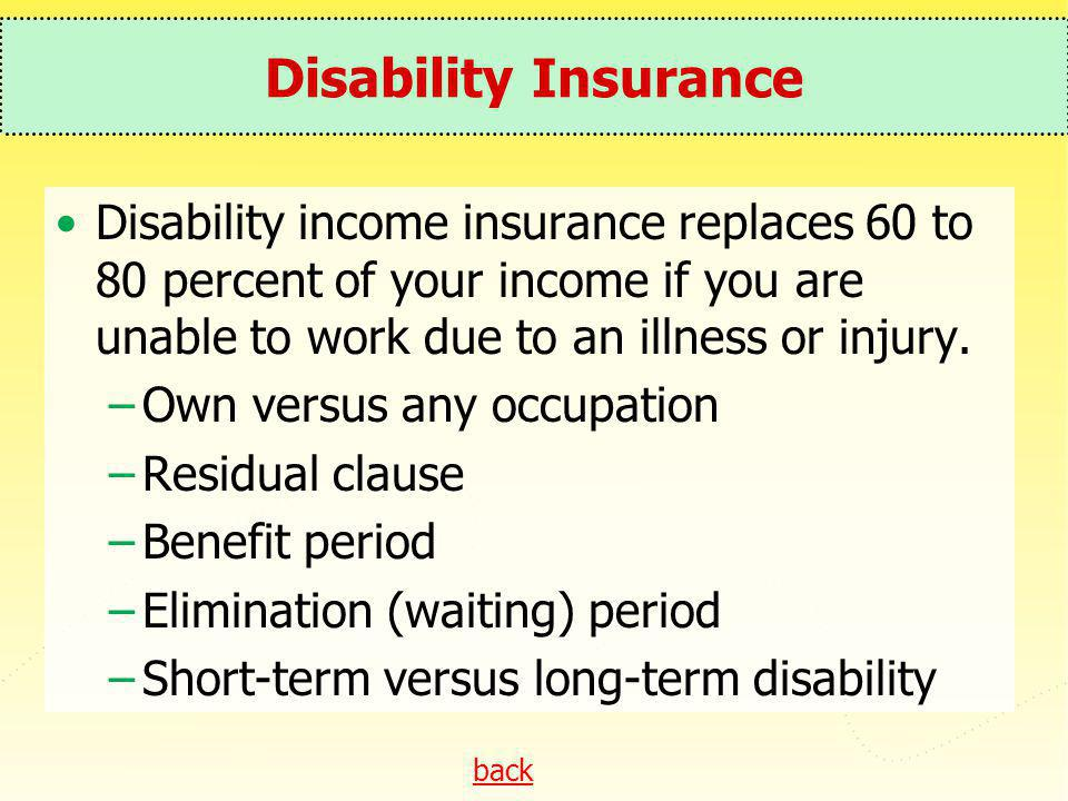back Disability Insurance Disability income insurance replaces 60 to 80 percent of your income if you are unable to work due to an illness or injury.