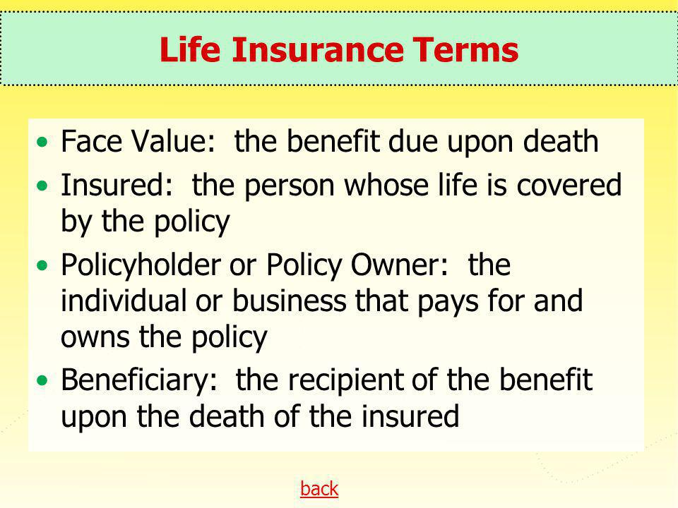 back Life Insurance Terms Face Value: the benefit due upon death Insured: the person whose life is covered by the policy Policyholder or Policy Owner: