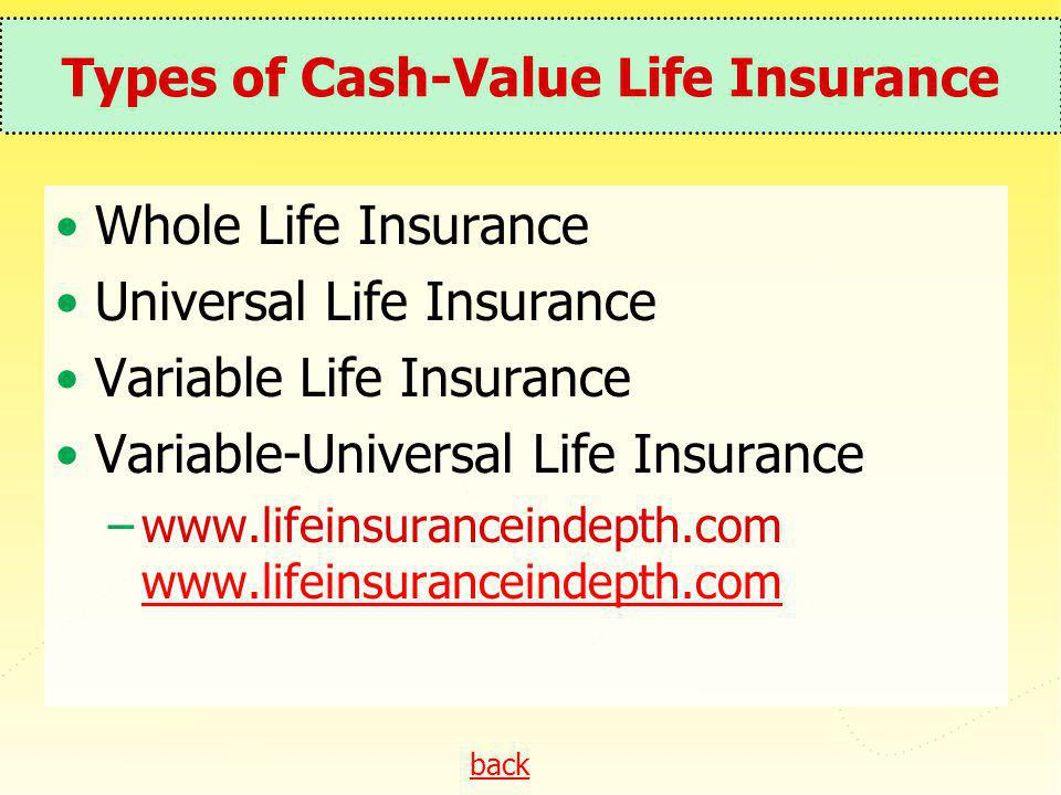 back Types of Cash-Value Life Insurance Whole Life Insurance Universal Life Insurance Variable Life Insurance Variable-Universal Life Insurance –www.l