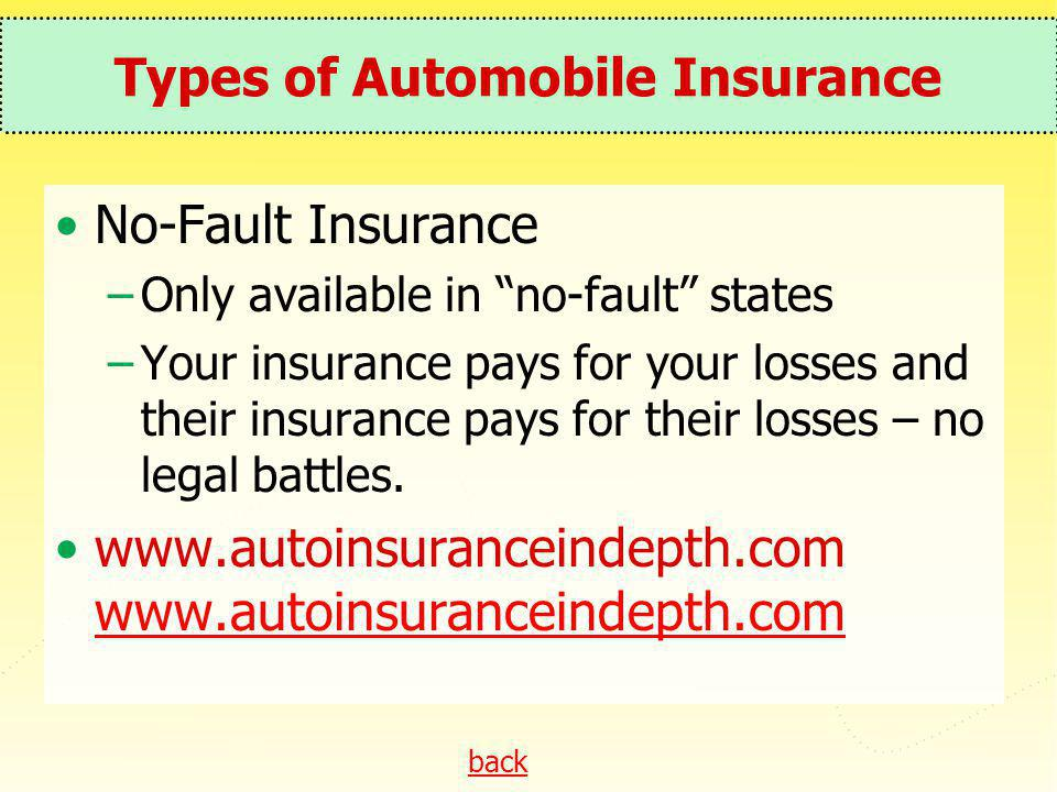 back Types of Automobile Insurance No-Fault Insurance –Only available in no-fault states –Your insurance pays for your losses and their insurance pays