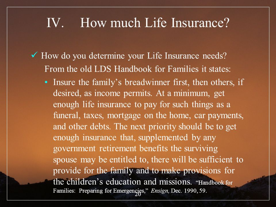 20 IV.How much Life Insurance? How do you determine your Life Insurance needs? From the old LDS Handbook for Families it states: Insure the familys br