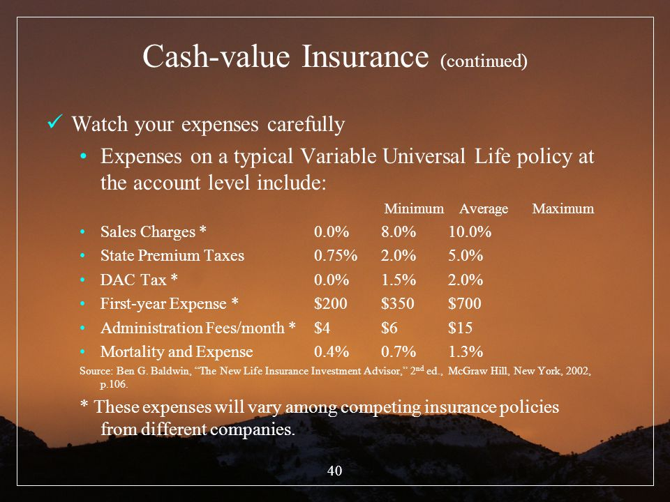 40 Cash-value Insurance (continued) Watch your expenses carefully Expenses on a typical Variable Universal Life policy at the account level include: M