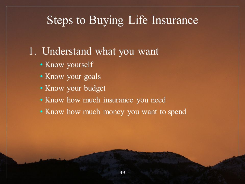 49 Steps to Buying Life Insurance 1. Understand what you want Know yourself Know your goals Know your budget Know how much insurance you need Know how