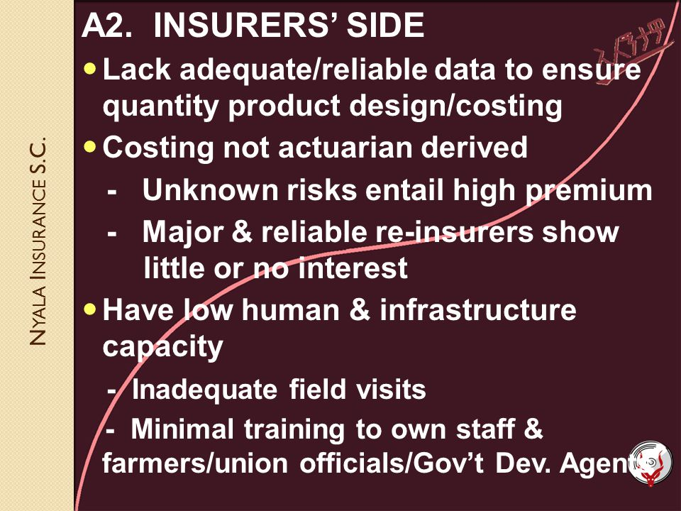 N YALA I NSURANCE S.C. A2. INSURERS SIDE Lack adequate/reliable data to ensure quantity product design/costing Costing not actuarian derived - Unknown
