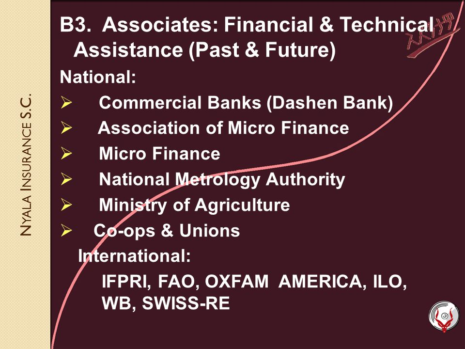 N YALA I NSURANCE S.C. B3. Associates: Financial & Technical Assistance (Past & Future) National: Commercial Banks (Dashen Bank) Association of Micro