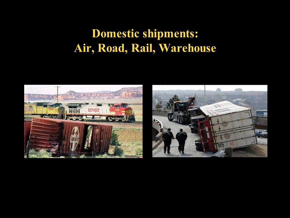 Domestic shipments: Air, Road, Rail, Warehouse