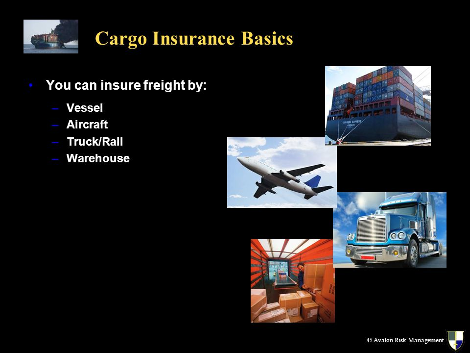 Cargo Insurance Basics You can insure freight by: –Vessel –Aircraft –Truck/Rail –Warehouse © Avalon Risk Management