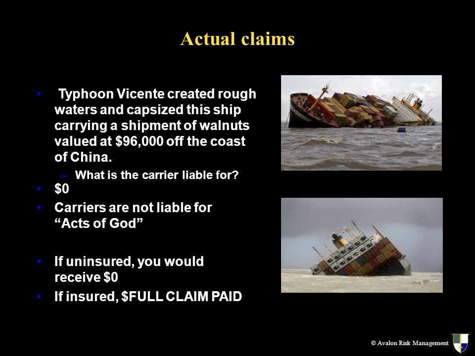 Actual claims © Avalon Risk Management Typhoon Vicente created rough waters and capsized this ship carrying a shipment of walnuts valued at $96,000 off the coast of China.