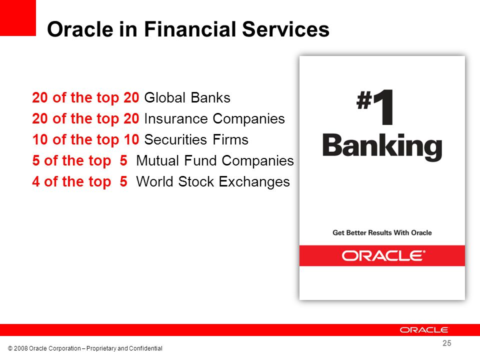 Oracle in Financial Services 25 © 2008 Oracle Corporation – Proprietary and Confidential 20 of the top 20 Global Banks 20 of the top 20 Insurance Comp