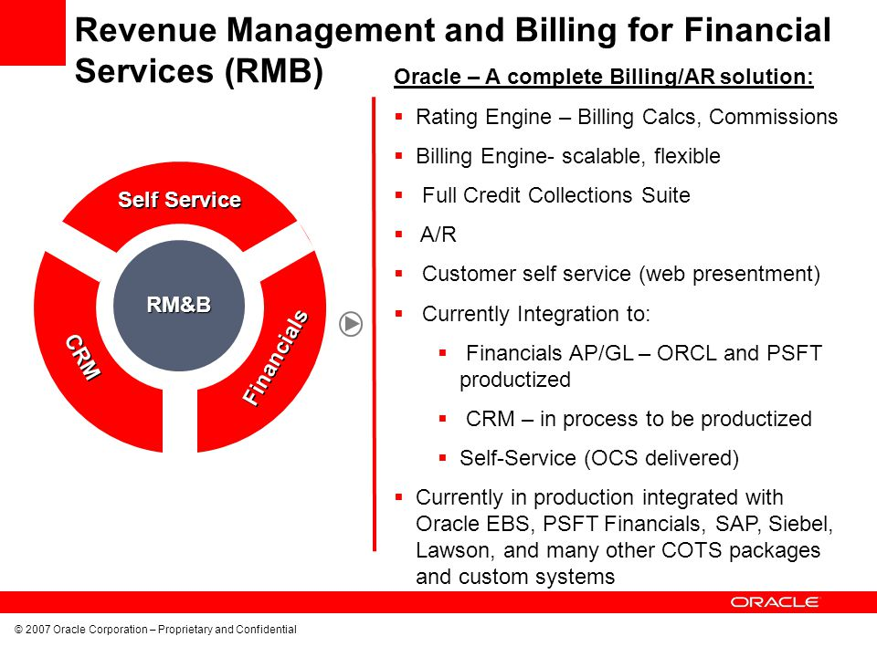 © 2007 Oracle Corporation – Proprietary and Confidential Oracle – A complete Billing/AR solution: Rating Engine – Billing Calcs, Commissions Billing E