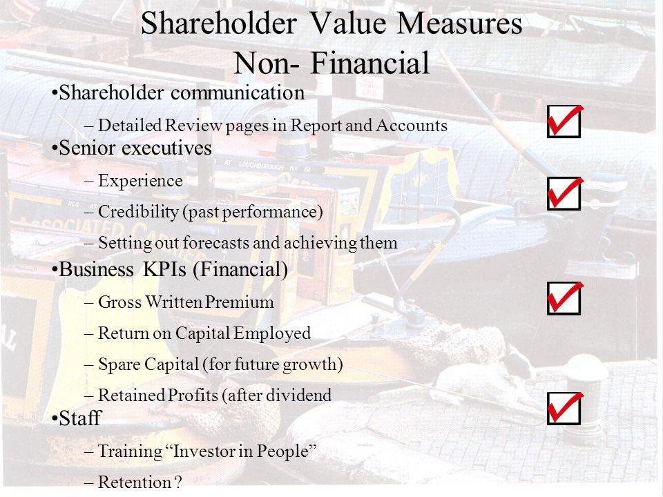 Shareholder Value Measures Non- Financial Shareholder communication – Detailed Review pages in Report and Accounts Senior executives – Experience – Credibility (past performance) – Setting out forecasts and achieving them Business KPIs (Financial) – Gross Written Premium – Return on Capital Employed – Spare Capital (for future growth) – Retained Profits (after dividend Staff – Training Investor in People – Retention