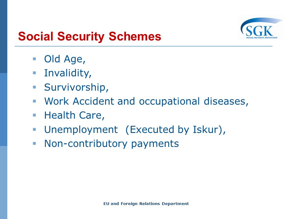 Social Security Schemes Old Age, Invalidity, Survivorship, Work Accident and occupational diseases, Health Care, Unemployment (Executed by Iskur), Non