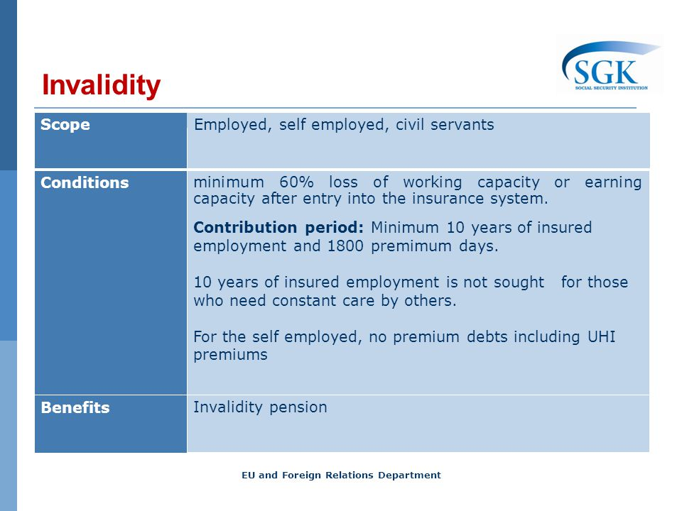 Invalidity ScopeEmployed, self employed, civil servants Conditions minimum 60% loss of working capacity or earning capacity after entry into the insur