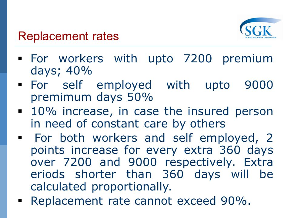 Replacement rates For workers with upto 7200 premium days; 40% For self employed with upto 9000 premimum days 50% 10% increase, in case the insured person in need of constant care by others For both workers and self employed, 2 points increase for every extra 360 days over 7200 and 9000 respectively.