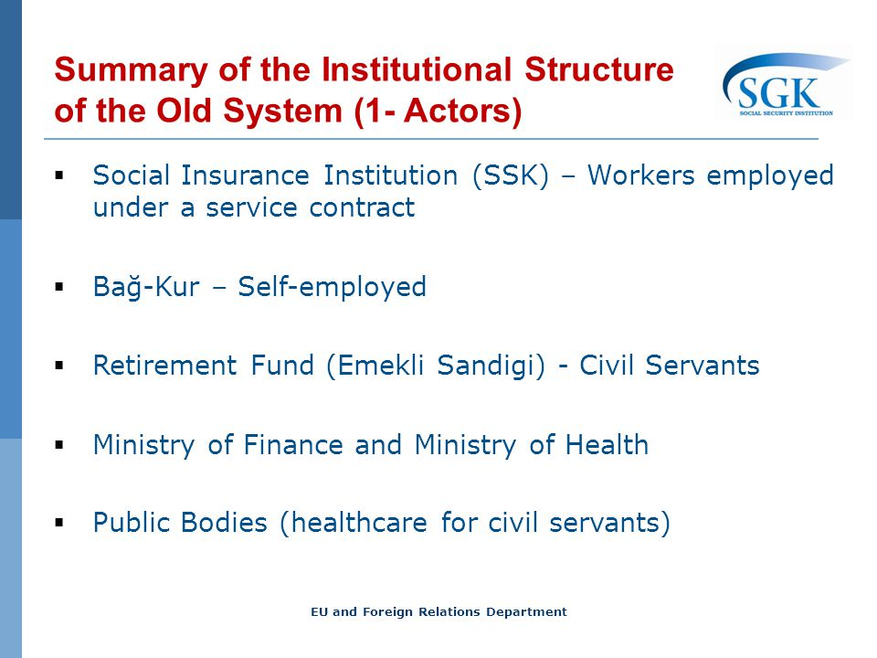Summary of the Institutional Structure of the Old System (1- Actors) Social Insurance Institution (SSK) – Workers employed under a service contract Bağ-Kur – Self-employed Retirement Fund (Emekli Sandigi) - Civil Servants Ministry of Finance and Ministry of Health Public Bodies (healthcare for civil servants) EU and Foreign Relations Department