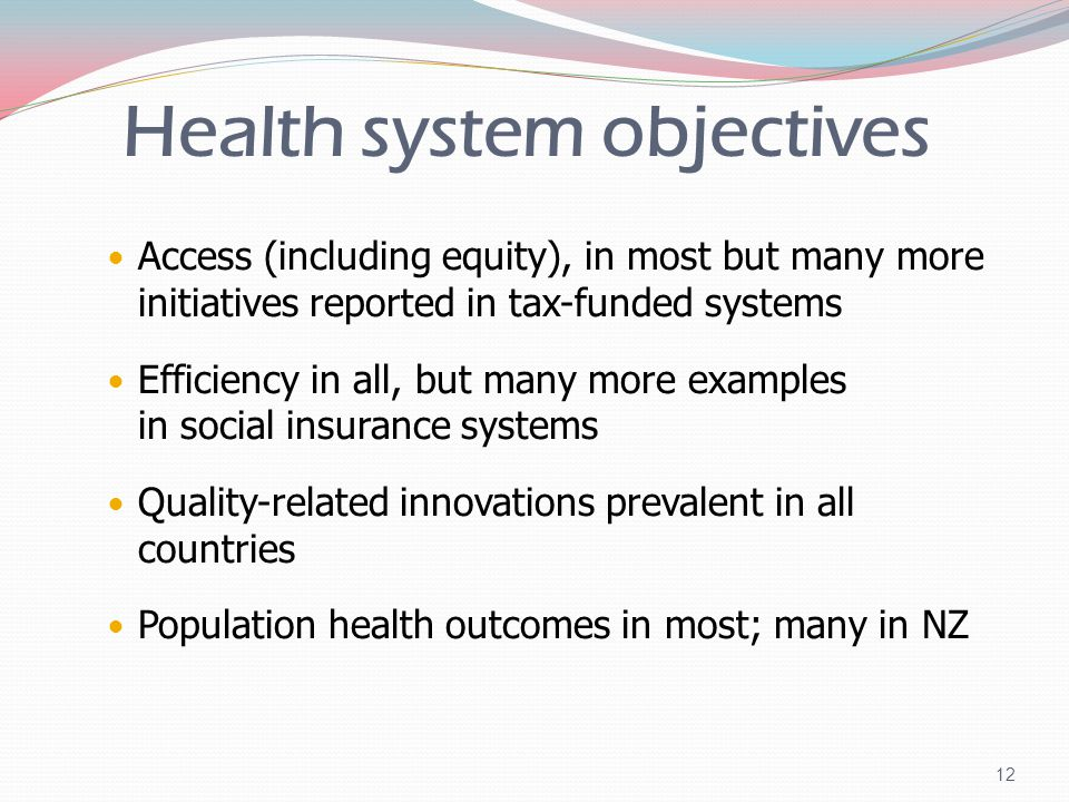 Health system objectives Access (including equity), in most but many more initiatives reported in tax-funded systems Efficiency in all, but many more