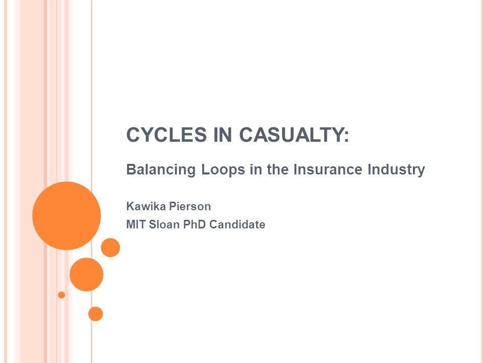 P RESENTATION O UTLINE The Insurance Industry Past Research Economics Control Theory System Dynamics The Model Boundary Causal Loop Diagram Important Structures PID Control Behavior How You Can Help