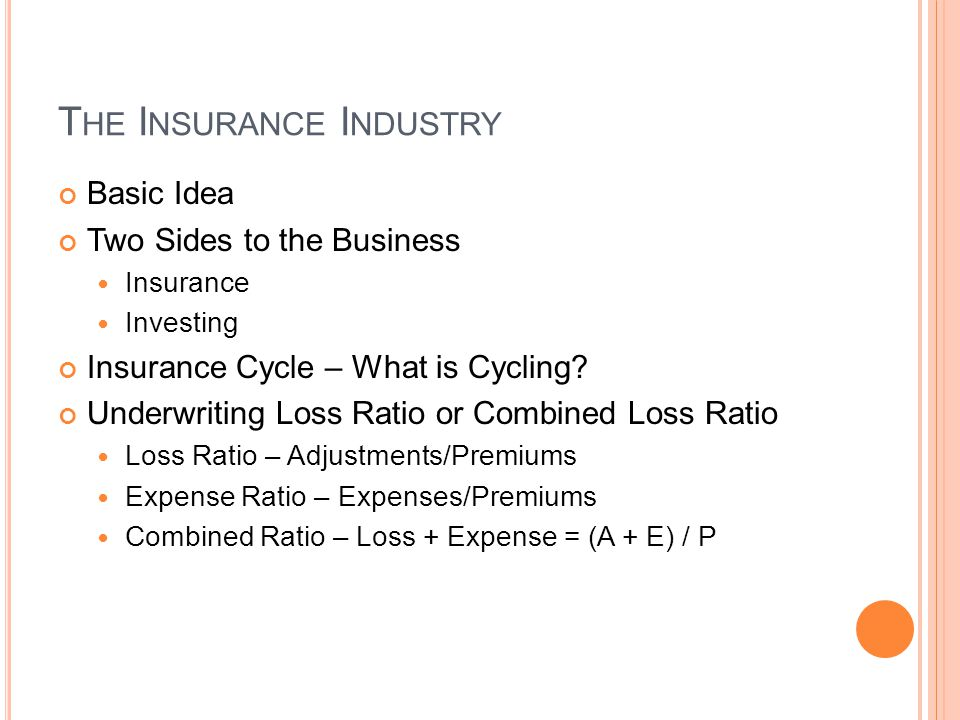 T HE I NSURANCE I NDUSTRY Basic Idea Two Sides to the Business Insurance Investing Insurance Cycle – What is Cycling? Underwriting Loss Ratio or Combi