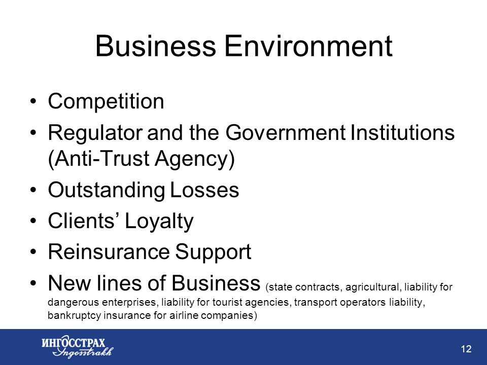 12 Business Environment Competition Regulator and the Government Institutions (Anti-Trust Agency) Outstanding Losses Clients Loyalty Reinsurance Support New lines of Business (state contracts, agricultural, liability for dangerous enterprises, liability for tourist agencies, transport operators liability, bankruptcy insurance for airline companies)